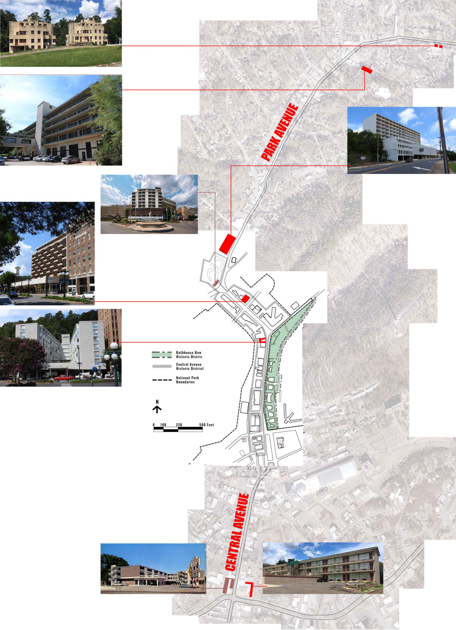 Map of modernist hotels in Hot Springs